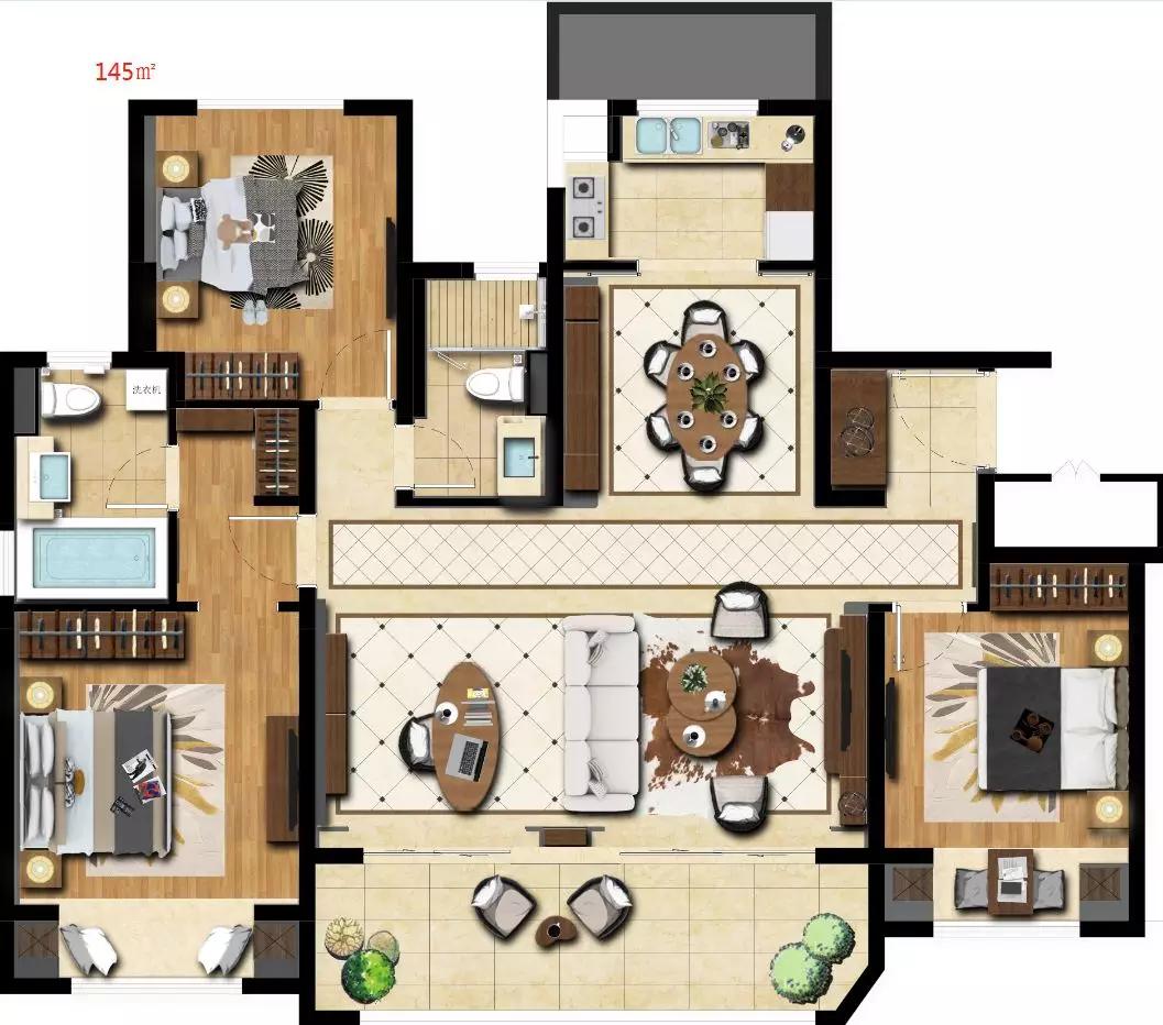 高层户型,2室2厅2卫,约145平米(建筑)