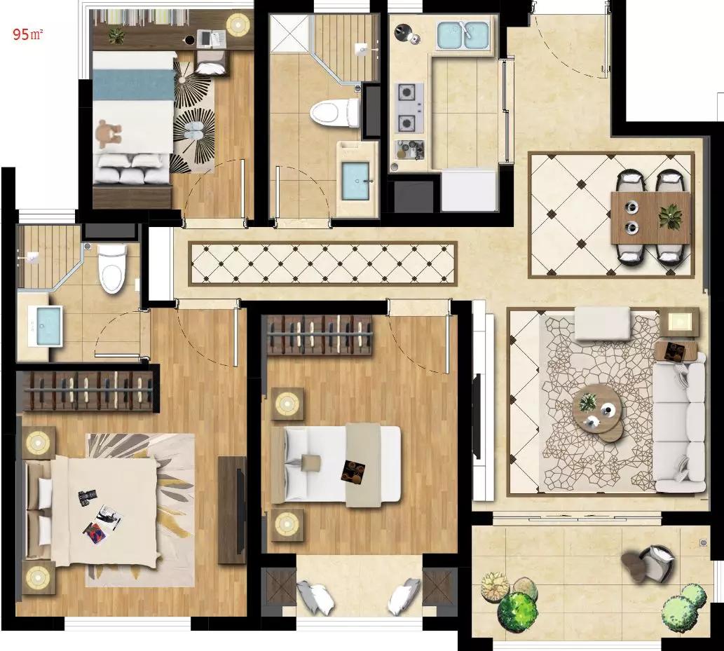 高层户型,2室2厅2卫,约95平米(建筑)